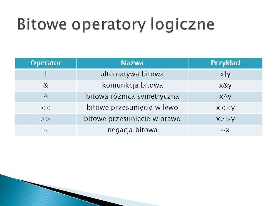 OperatorNazwaPrzykład |alternatywa bitowax|y &koniunkcja bitowax&y ^bitowa różnica symetrycznax^y <<bitowe przesunięcie w lewox<<y >>bitowe przesunięcie w prawox>>y ~negacja bitowa~x