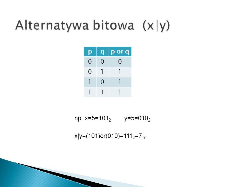 pqp or q 000 011 101 111 np. x=5=101 2 y=5=010 2 x|y=(101)or(010)=111 2 =7 10