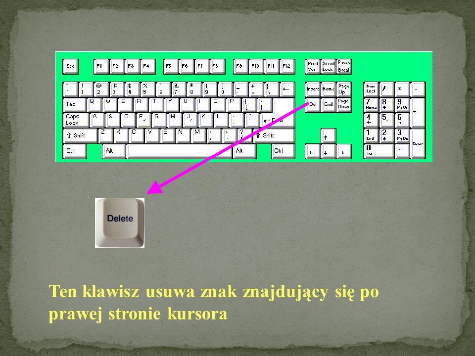 Niektóre z klawiszy służą do kontrolowania położenia kursora i przenoszenia go w obszarze okna danego programu. W edytorze tekstowym klawisze te pełni