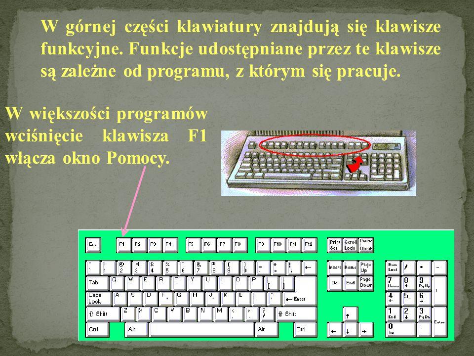 Ta grupa klawiszy przypomina swoim układem klawiaturę kalkulatora. Cyfry na klawiaturze numerycznej są dostępne, gdy nad klawiszem Num Lock pali się l