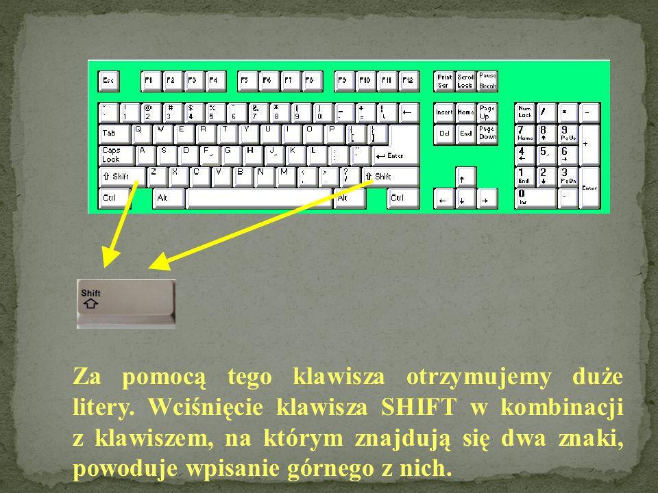 Za pomocą tego klawisza otrzymujemy duże litery.
