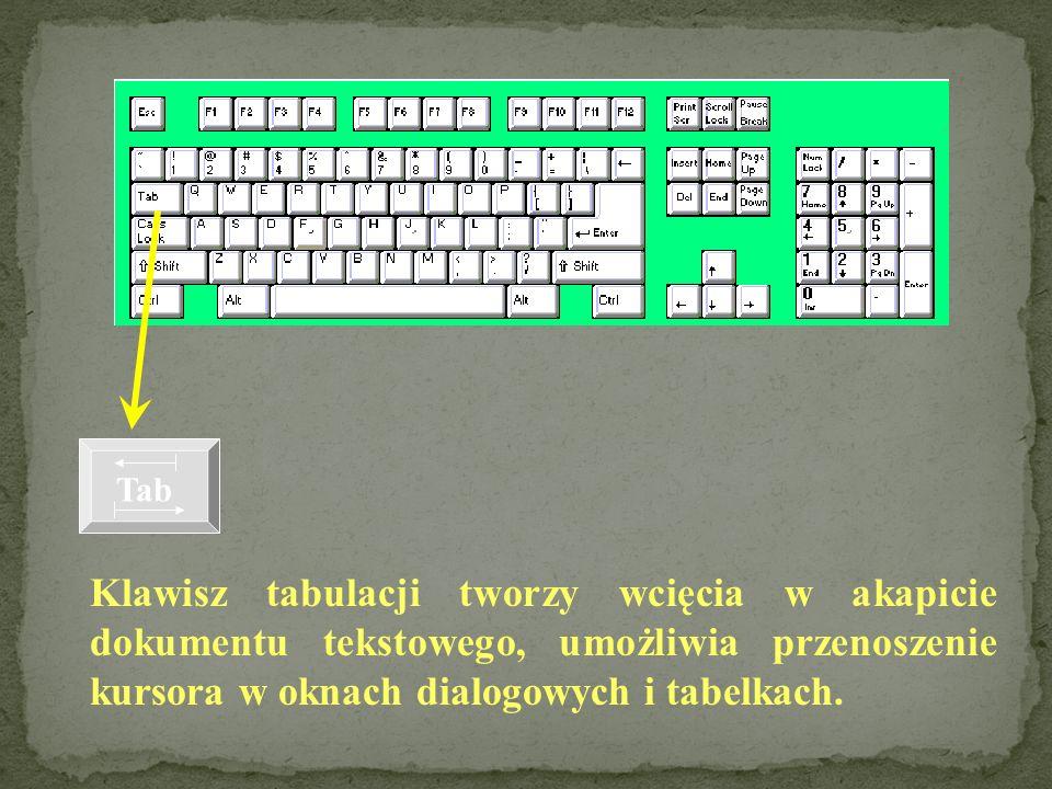 Za pomocą tego klawisza otrzymujemy duże litery. Wciśnięcie klawisza SHIFT w kombinacji z klawiszem, na którym znajdują się dwa znaki, powoduje wpisan
