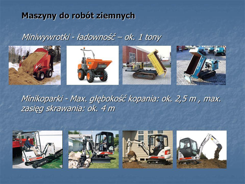 Maszyny do robót ziemnych Miniwywrotki - ładowność – ok. 1 tony Minikoparki - Max. głębokość kopania: ok. 2,5 m, max. zasięg skrawania: ok. 4 m