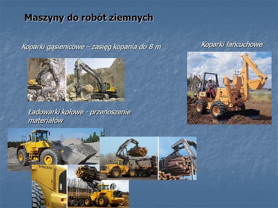 Maszyny do robót ziemnych Koparki łańcuchowe Ładowarki kołowe - przenoszenie materiałów Koparki gąsienicowe – zasięg kopania do 8 m