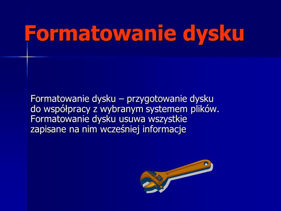Formatowanie dysku Formatowanie dysku – przygotowanie dysku do współpracy z wybranym systemem plików.