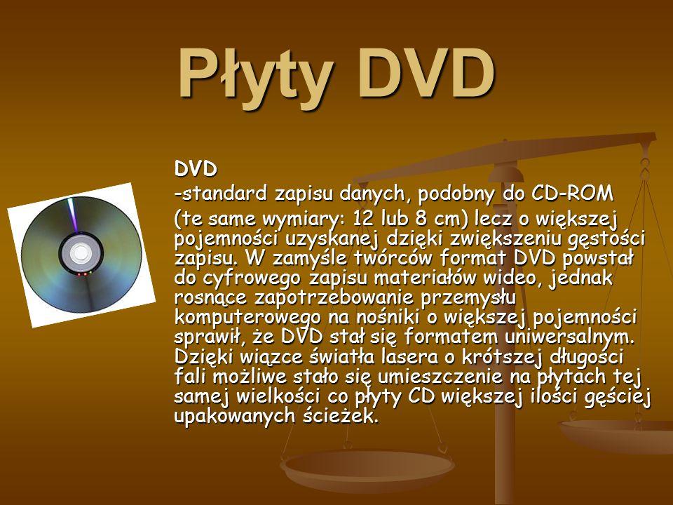 Płyty DVD DVD -standard zapisu danych, podobny do CD-ROM (te same wymiary: 12 lub 8 cm) lecz o większej pojemności uzyskanej dzięki zwiększeniu gęstości zapisu.