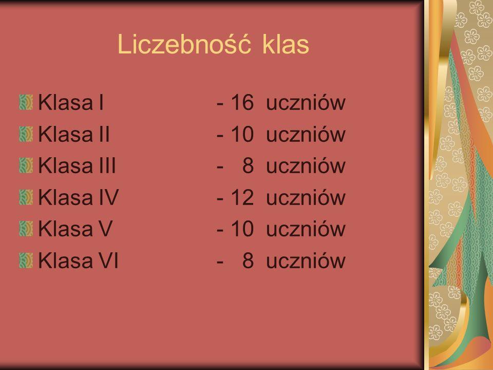 Liczebność klas Klasa I- 16 uczniów Klasa II - 10uczniów Klasa III- 8 uczniów Klasa IV- 12uczniów Klasa V- 10uczniów Klasa VI- 8 uczniów