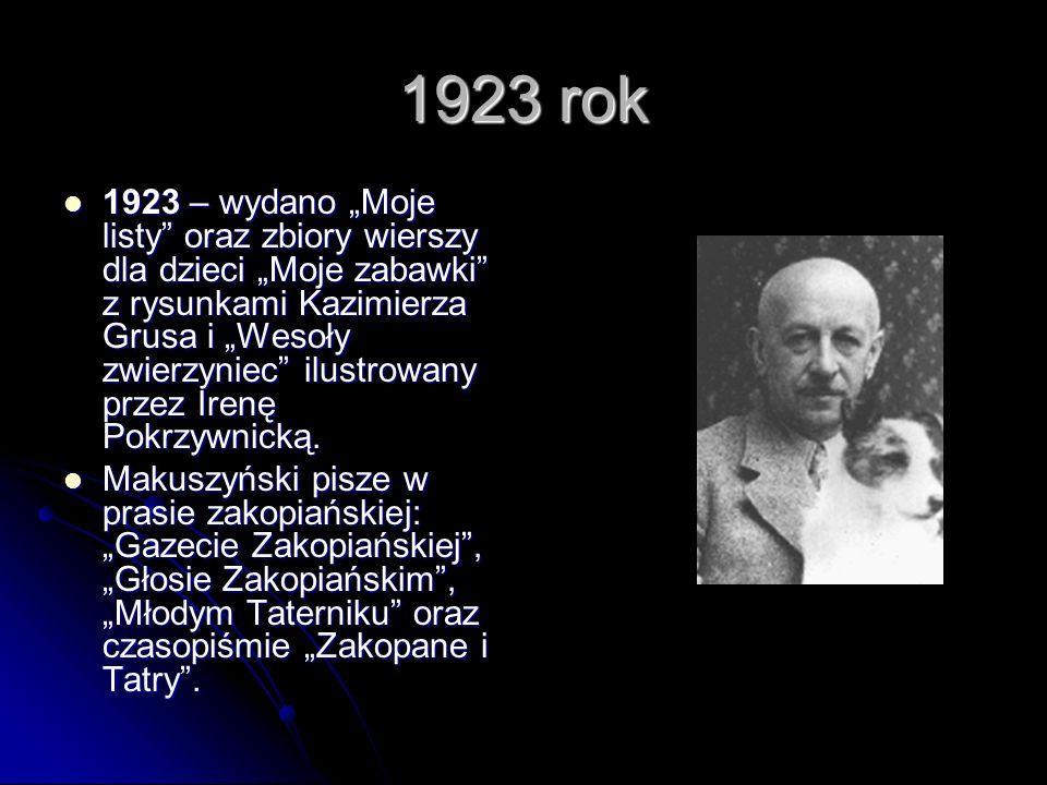1923 rok 1923 – wydano Moje listy oraz zbiory wierszy dla dzieci Moje zabawki z rysunkami Kazimierza Grusa i Wesoły zwierzyniec ilustrowany przez Irenę Pokrzywnicką.