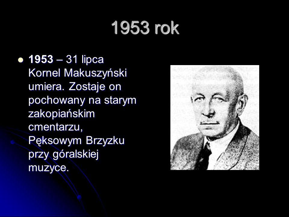 1953 rok 1953 – 31 lipca Kornel Makuszyński umiera.