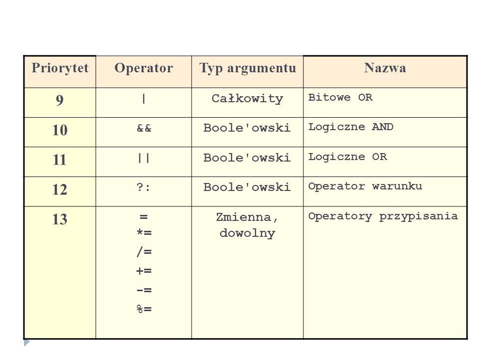 PriorytetOperatorTyp argumentuNazwa 9 |Całkowity Bitowe OR 10 &&Boole'owski Logiczne AND 11 ||Boole'owski Logiczne OR 12 ?:Boole'owski Operator warunk