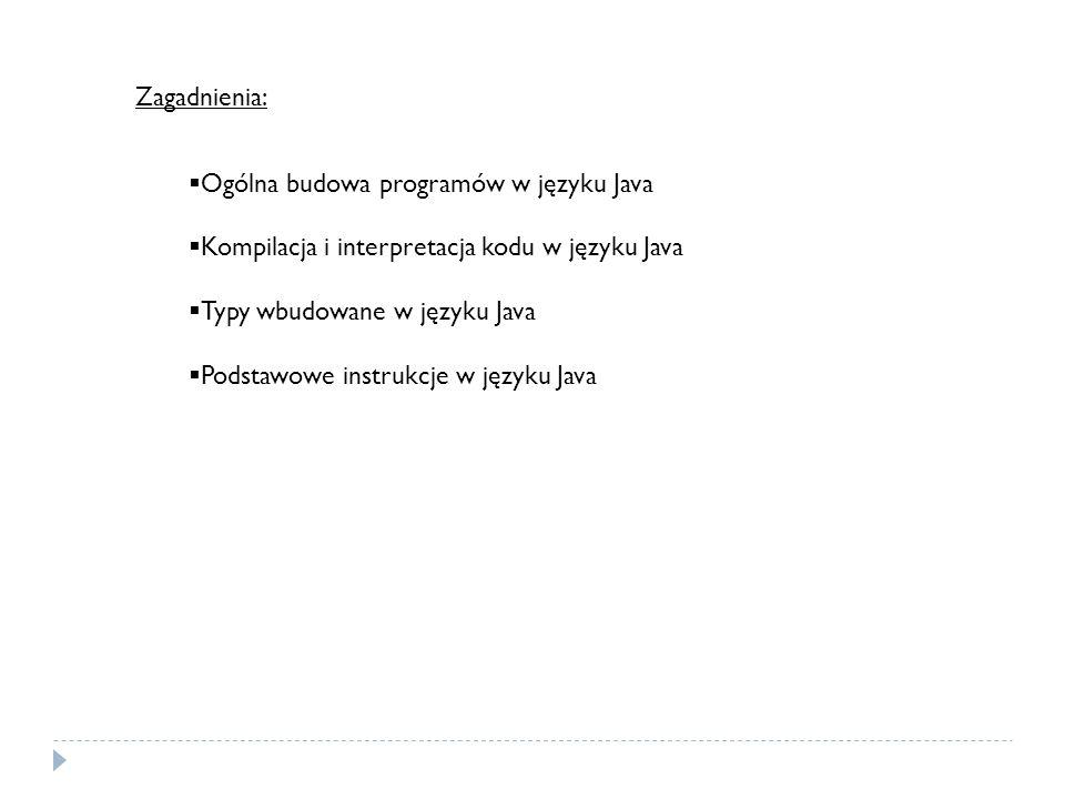 Zagadnienia: Ogólna budowa programów w języku Java Kompilacja i interpretacja kodu w języku Java Typy wbudowane w języku Java Podstawowe instrukcje w