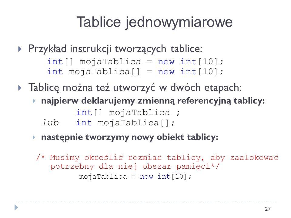 27 Przykład instrukcji tworzących tablice: int[] mojaTablica = new int[10]; int mojaTablica[] = new int[10]; Tablicę można też utworzyć w dwóch etapac