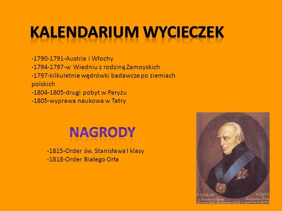 -1790-1791-Austria i Włochy -1794-1797-w Wiedniu z rodziną Zamoyskich -1797-kilkuletnie wędrówki badawcze po ziemiach polskich -1804-1805-drugi pobyt