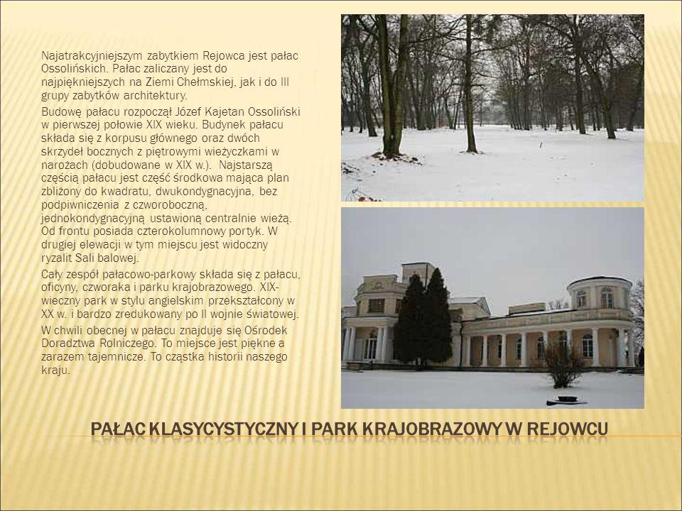 Najatrakcyjniejszym zabytkiem Rejowca jest pałac Ossolińskich. Pałac zaliczany jest do najpiękniejszych na Ziemi Chełmskiej, jak i do III grupy zabytk