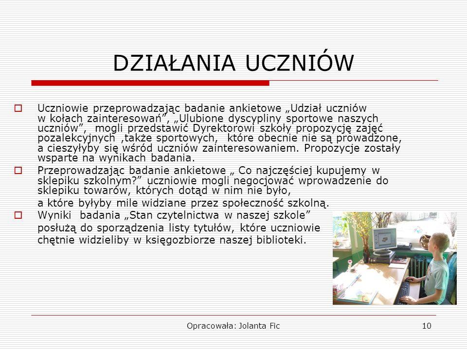 Opracowała: Jolanta Fic10 DZIAŁANIA UCZNIÓW Uczniowie przeprowadzając badanie ankietowe Udział uczniów w kołach zainteresowań, Ulubione dyscypliny spo