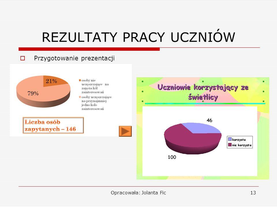 Opracowała: Jolanta Fic13 REZULTATY PRACY UCZNIÓW Przygotowanie prezentacji