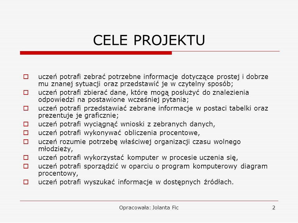 Opracowała: Jolanta Fic2 CELE PROJEKTU uczeń potrafi zebrać potrzebne informacje dotyczące prostej i dobrze mu znanej sytuacji oraz przedstawić je w c