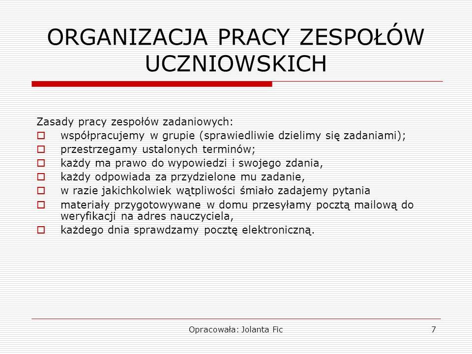 Opracowała: Jolanta Fic7 ORGANIZACJA PRACY ZESPOŁÓW UCZNIOWSKICH Zasady pracy zespołów zadaniowych: współpracujemy w grupie (sprawiedliwie dzielimy si