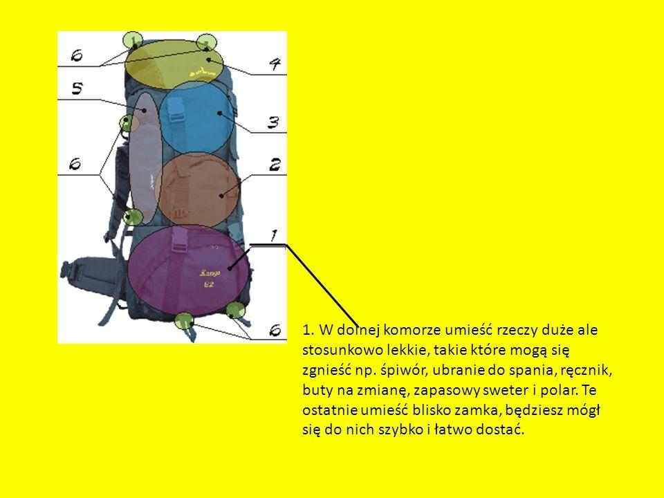 1. W dolnej komorze umieść rzeczy duże ale stosunkowo lekkie, takie które mogą się zgnieść np. śpiwór, ubranie do spania, ręcznik, buty na zmianę, zap