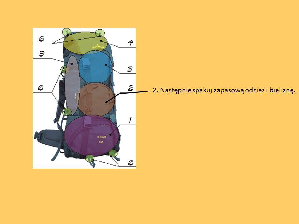 3. W środkowej części plecaka jest miejsce na cięższy ekwipunek np. prowiant, konserwy.