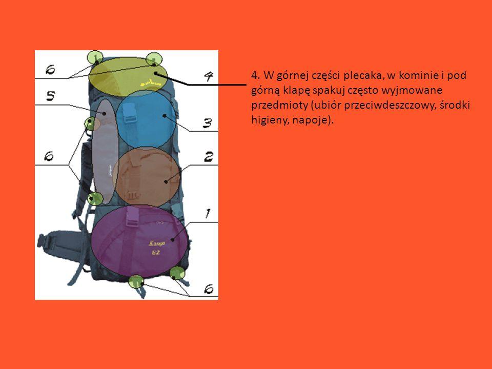 4. W górnej części plecaka, w kominie i pod górną klapę spakuj często wyjmowane przedmioty (ubiór przeciwdeszczowy, środki higieny, napoje).