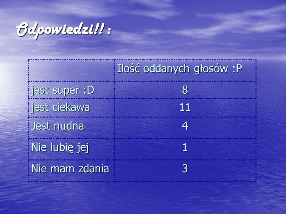 Odpowiedzi!! : Ilość oddanych głosów :P jest super :D 8 jest ciekawa 11 Jest nudna 4 Nie lubię jej 1 Nie mam zdania 3