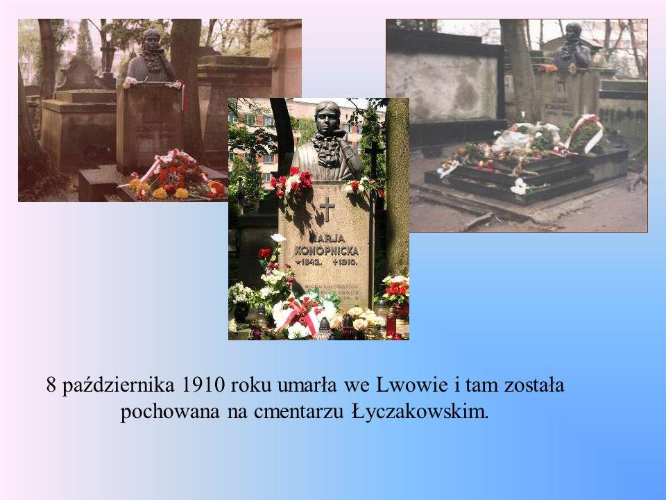 8 października 1910 roku umarła we Lwowie i tam została pochowana na cmentarzu Łyczakowskim.