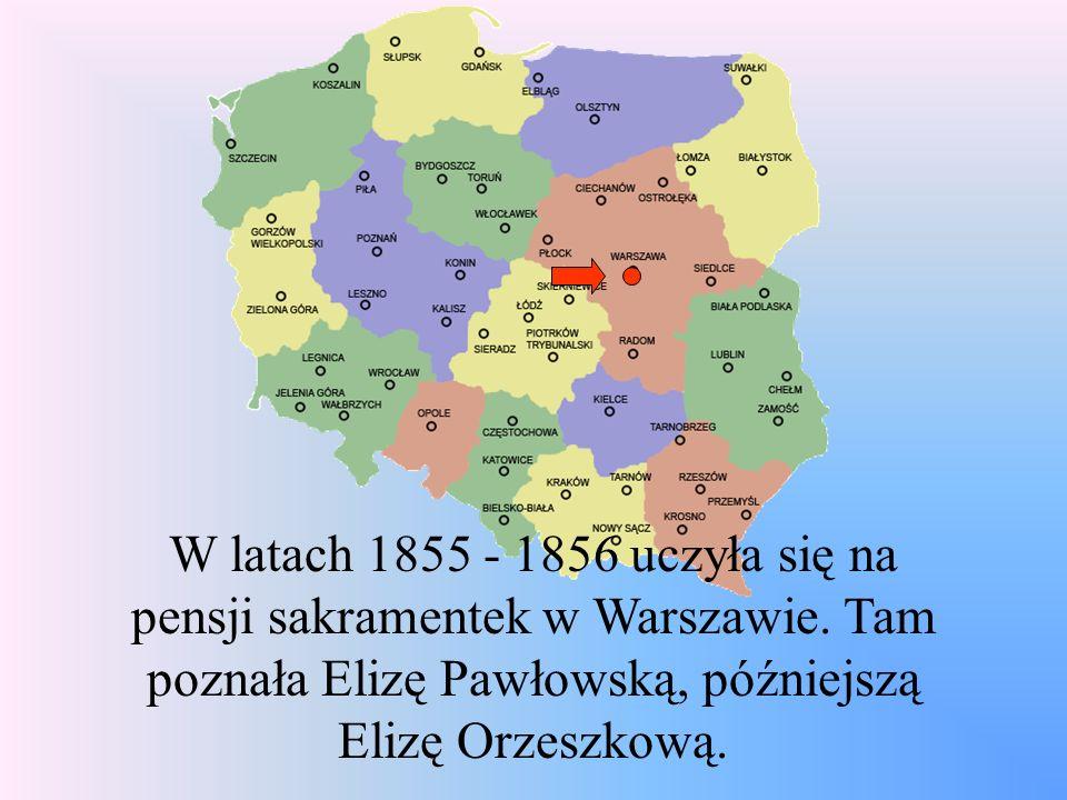 W latach 1855 - 1856 uczyła się na pensji sakramentek w Warszawie. Tam poznała Elizę Pawłowską, późniejszą Elizę Orzeszkową.
