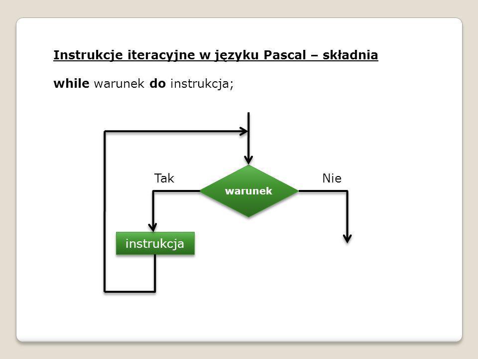 Instrukcje iteracyjne w języku Pascal – składnia while warunek do instrukcja; warunek instrukcja TakNie