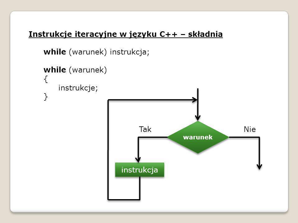 Instrukcje iteracyjne w języku C++ – składnia while (warunek) instrukcja; while (warunek) { instrukcje; } warunek instrukcja TakNie