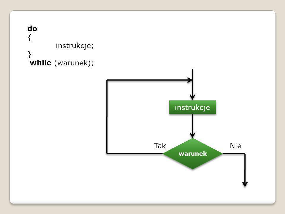 do { instrukcje; } while (warunek); warunek instrukcje TakNie
