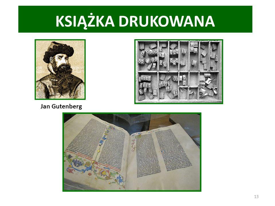 KSIĄŻKA DRUKOWANA Jan Gutenberg 13