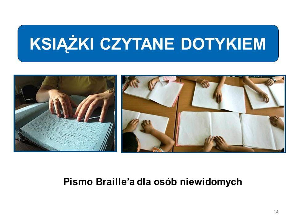 KSIĄŻKI CZYTANE DOTYKIEM Pismo Braillea dla osób niewidomych 14