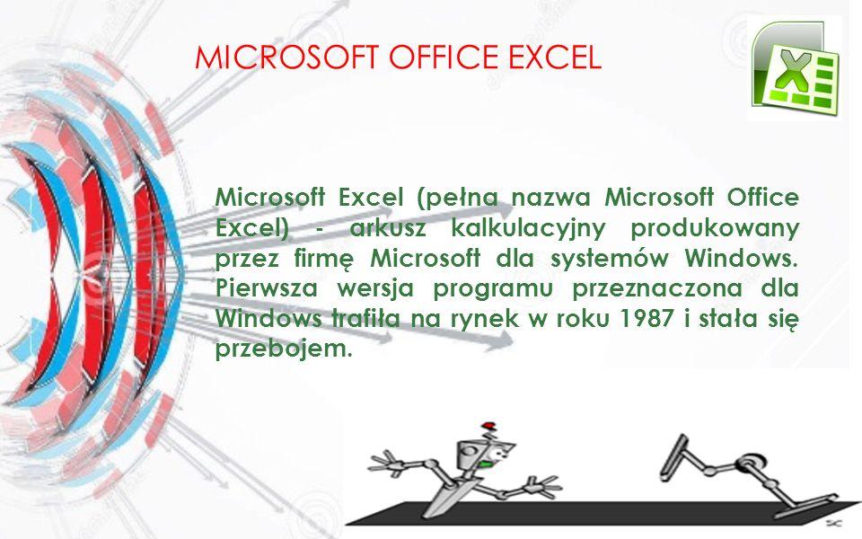 MICROSOFT OFFICE EXCEL Microsoft Excel (pełna nazwa Microsoft Office Excel) - arkusz kalkulacyjny produkowany przez firmę Microsoft dla systemów Windo