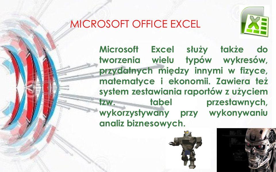 MICROSOFT OFFICE EXCEL Microsoft Excel służy także do tworzenia wielu typów wykresów, przydatnych między innymi w fizyce, matematyce i ekonomii. Zawie