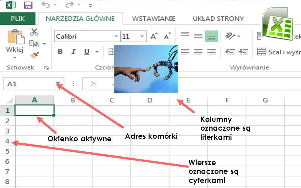 Okienko aktywne Adres komórki Kolumny oznaczone są literkami Wiersze oznaczone są cyferkami