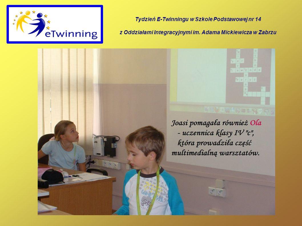 Tydzień E-Twinningu w Szkole Podstawowej nr 14 z Oddziałami Integracyjnymi im. Adama Mickiewicza w Zabrzu
