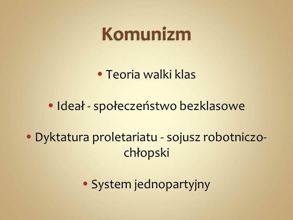 Teoria walki klas Ideał - społeczeństwo bezklasowe Dyktatura proletariatu - sojusz robotniczo- chłopski System jednopartyjny