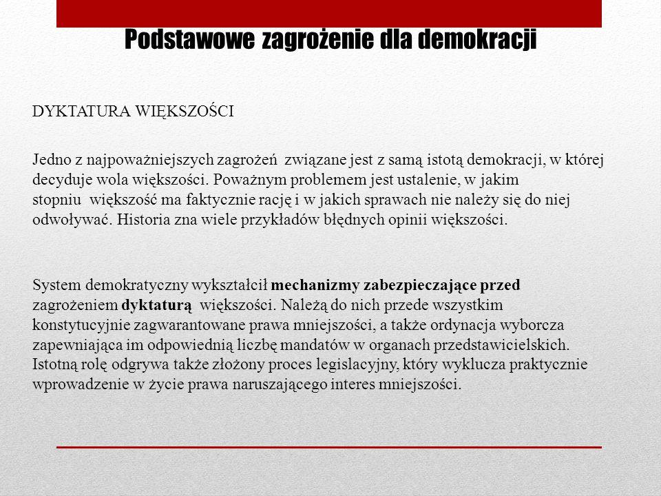 Podstawowe zagrożenie dla demokracji DYKTATURA WIĘKSZOŚCI Jedno z najpoważniejszych zagrożeń związane jest z samą istotą demokracji, w której decyduje