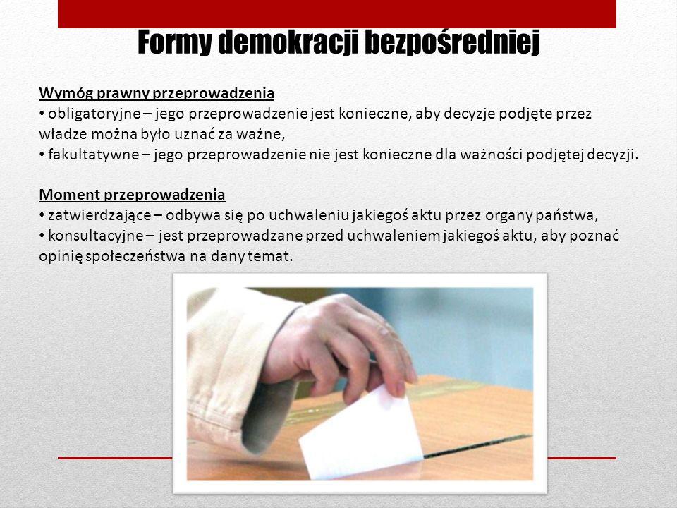Formy demokracji bezpośredniej Wymóg prawny przeprowadzenia obligatoryjne – jego przeprowadzenie jest konieczne, aby decyzje podjęte przez władze możn