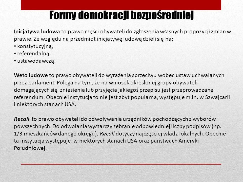 Formy demokracji bezpośredniej Inicjatywa ludowa to prawo części obywateli do zgłoszenia własnych propozycji zmian w prawie. Ze względu na przedmiot i