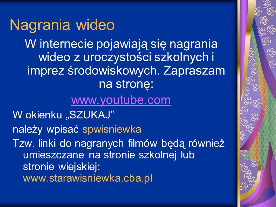 Nagrania wideo W internecie pojawiają się nagrania wideo z uroczystości szkolnych i imprez środowiskowych. Zapraszam na stronę: www.youtube.cwww.youtu