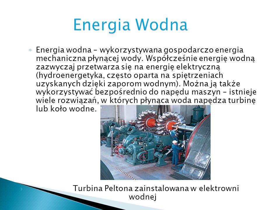 Energia wodna – wykorzystywana gospodarczo energia mechaniczna płynącej wody. Współcześnie energię wodną zazwyczaj przetwarza się na energię elektrycz