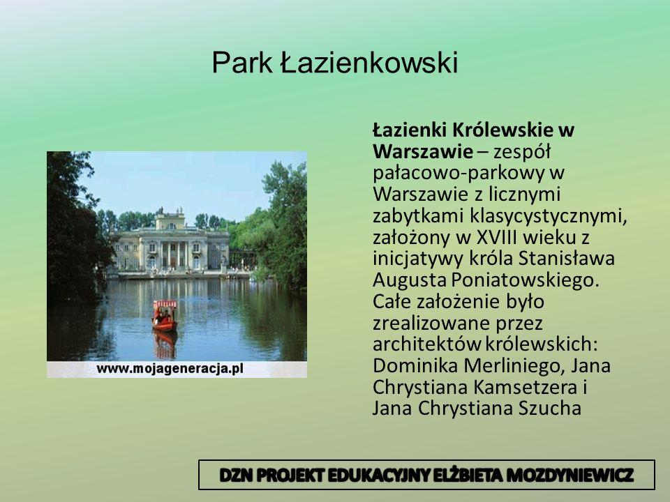 Park Łazienkowski Łazienki Królewskie w Warszawie – zespół pałacowo-parkowy w Warszawie z licznymi zabytkami klasycystycznymi, założony w XVIII wieku