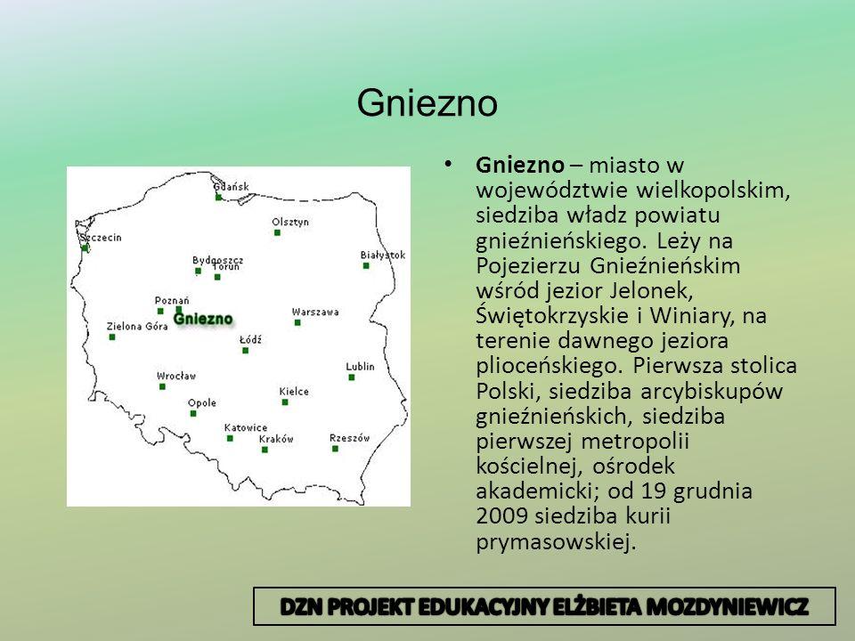 Gniezno Gniezno – miasto w województwie wielkopolskim, siedziba władz powiatu gnieźnieńskiego. Leży na Pojezierzu Gnieźnieńskim wśród jezior Jelonek,