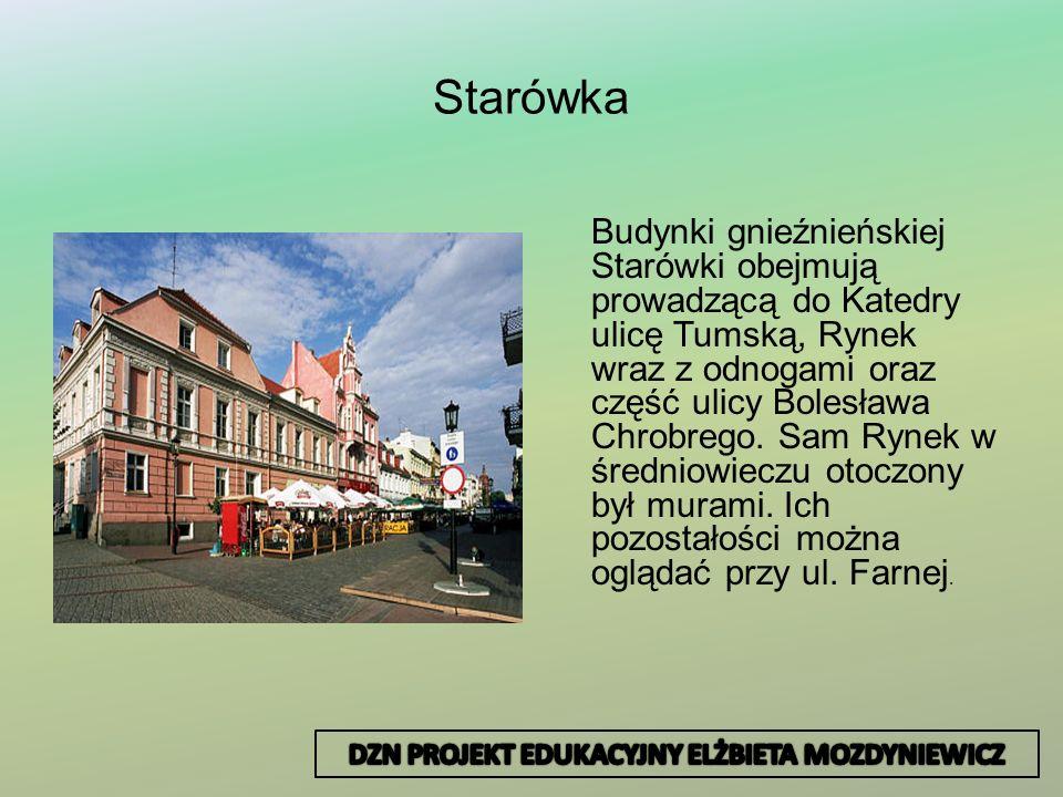 Starówka Budynki gnieźnieńskiej Starówki obejmują prowadzącą do Katedry ulicę Tumską, Rynek wraz z odnogami oraz część ulicy Bolesława Chrobrego. Sam