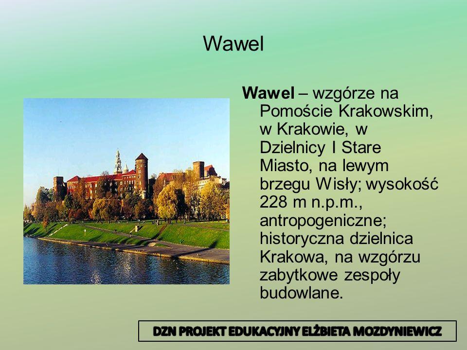 Wawel Wawel – wzgórze na Pomoście Krakowskim, w Krakowie, w Dzielnicy I Stare Miasto, na lewym brzegu Wisły; wysokość 228 m n.p.m., antropogeniczne; h