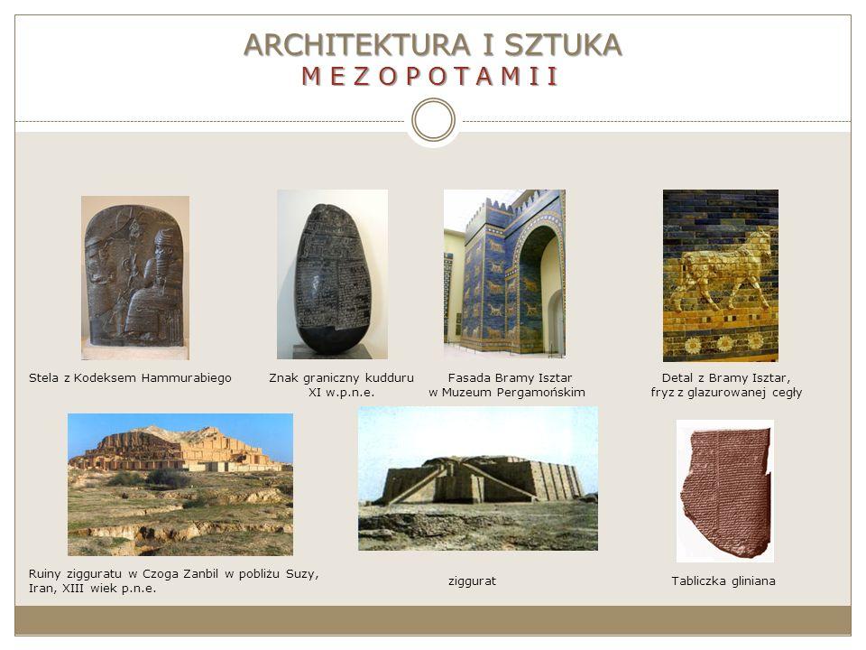 ARCHITEKTURA I SZTUKA MEZOPOTAMII Fasada Bramy Isztar w Muzeum Pergamońskim Znak graniczny kudduru XI w.p.n.e. Stela z Kodeksem HammurabiegoDetal z Br