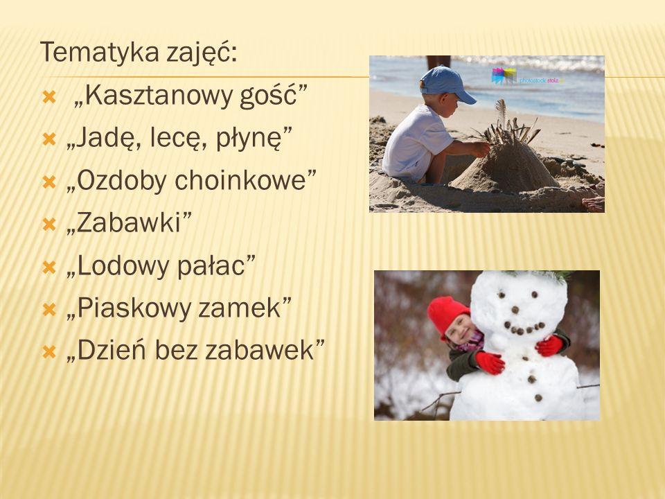 Tematyka zajęć: Kasztanowy gość Jadę, lecę, płynę Ozdoby choinkowe Zabawki Lodowy pałac Piaskowy zamek Dzień bez zabawek