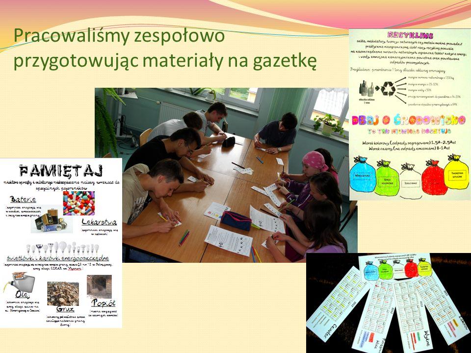 Pracowaliśmy zespołowo przygotowując materiały na gazetkę